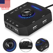 Gaming Audio 3.5mm USB Hub Sound Card Microphone For PC Laptop PS4 Mac Linux