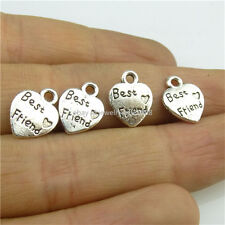 13609 60PCS Alloy Mini Heart Word Best Friend Vintage Silver Style Pendant Charm