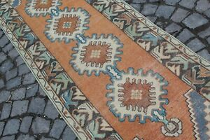 "Vintage Handmade Turkish Oushak Kitchen Runner Rug 9'7""x3'2"""