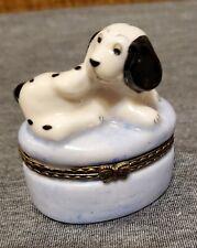 Porcelain Hinged Mini Trinket Box, Blue Oval Shaped with Dalmation Dog on top