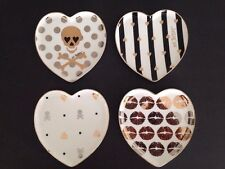 NIB Set 4 Betsey Johnson Hi-Shine Heart Shaped Dessert Plates Mint Condition Box