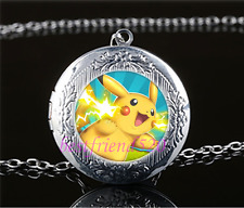 Pokemon Pikachu Photo Cabochon Glass Tibet Silver Locket Pendant Necklace