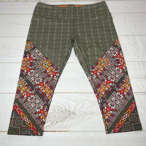 prAna Womens Leggings XL Capi Cropped Aztec Green Orange Earth Tones Pocket