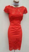Size UK 8 Karen Millen Red Cotton Lace Panel Cocktail Races Wiggle A Line Dress