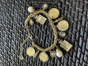 BARCS VINTAGE DECEASED ESTATE COIN BRACELET 14 Charms Gold Colour Rare