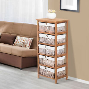 HOMCOM Wicker 5 Drawer Unit Storage Baskets Cabinet Wooden Chest