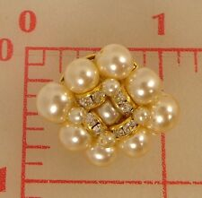 "1 beaded Czech shank button glass pearls & gold rhinestone rondelles 1"" 1512"