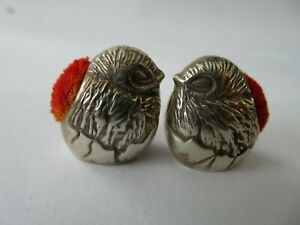 A FINE PAIR SOLID STERLING SILVER HALLMARKED CHICK BIRD PINCUSHIONS