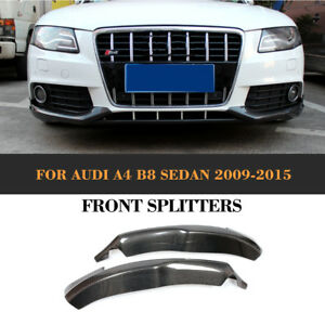 2x Carbon Spltters Flaps Front Spoiler Canards Turning für Audi A4 B8 Limo 09-12