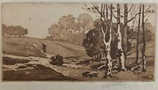 """John Wesley Cotton Signed Tinted Brown Etching Of A Country Walk 4 1/4"""" X8 3/8"""""""