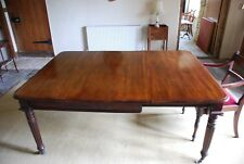 Early Victorian antique solid mahogany 1 leaf extending dining table