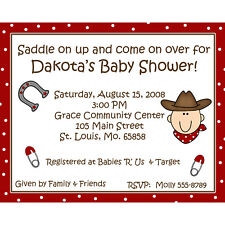 20 Personalized Baby Shower Invitations -Little Cowboy