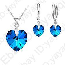 Romantic Austrian Crystal Ocean Heart Pendant Jewelry Sets Necklace Earring Sets