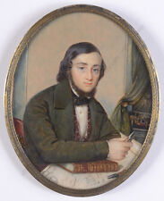 """Portrait of a young ship's captain"", American miniature, ca. 1860"