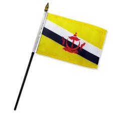 "Brunei 4""x6"" Flag Desk Set Table Stick Black Base"