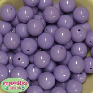 20mm Lavender Acrylic Solid Bubblegum Beads Lot 20 pc Chunky Jewelry Necklace
