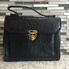 Women's Designer Doctors Bag ACCENT Ostrich Leather Bowler Black Handbag Tote