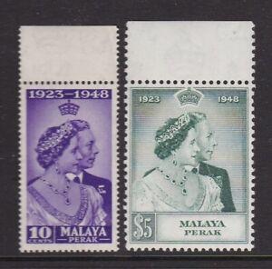 MALAYA PERAK 1948 KGVI SILVER WEDDING SET NEVER HINGED MINT