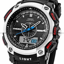 OHSEN Waterproof Digital LCD Alarm Date Military Rubber Mens Sport Watch