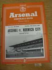 30/01/1954 Arsenal v Norwich City [FA Cup] (Neat Match Details Noted On Cover/In