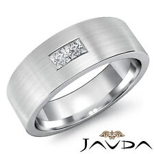 Princess Diamond Men Half Wedding Band 14k White Gold Matt Finished Ring 0.15Ct