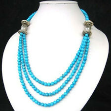 3S ASIAN TIBET STYLE TIBETAN SILVER TURQUOISE 6MM BEADS NECKLACE