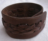 Handmade Leather Bracelet with braided Design - snap closure, brown color,rustic