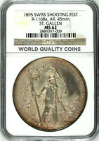 Swiss 1895 Silver Shooting Medal St Gallen R-1168a Mintage-800 NGC M62