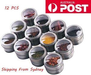 12PCS Kitchen Storage Magnetic Spice Jar Rack Herb Pot Holder Stainless Steel AU