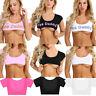 Women's Casual Short Sleeve Tank Tops Letter Print Short Crop Tops Blouse Shirts