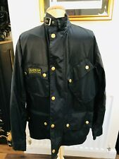 BARBOUR INTERNATIONAL BLACK LIGHT WEIGHT JACKET WITH TARTAN LINING SIZE LARGE