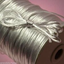 50 Yards  White Nylon 2mm Satin Cord RatTail Great for Kumihimo Braiding 150 ft