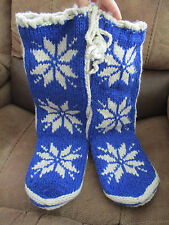 New Woolrich Hand Knit Chalet Socks Slippers Booties Blue Nordic Spice Small 6-8
