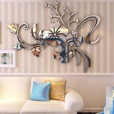 Flower DIY Removable Home Room Wall Mirror Sticker Art Vinyl Mural Decor Decal +