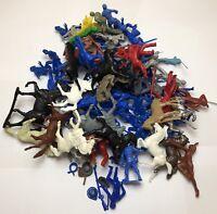 Lg Lot Vintage Plastic Indians Civil War Army Spacemen Figures & Horses Tim-Mee