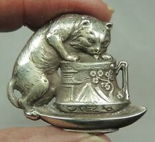 WHITE METAL REALISTIC BUTTON ~ A THIRSTY KITTY ~ CAT DRINKING FROM A CUP PICTURE