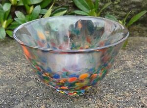 Handmade, Multicolored Confetti Glass Open Salt Dip, Cellar, Dish!
