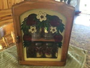 Wooden spice cabinet with 8 jars