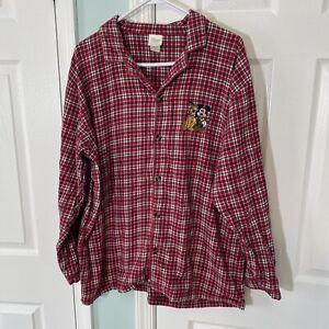 Disney Store Christmas Pajama Flannel Plaid Shirt Size XL Mickey Mouse Pluto
