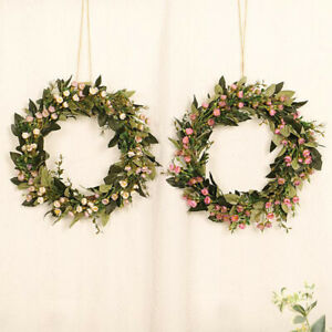 "Artificial Green Leaves Wreath 16"" Boxwood Front Door Wall Festival Celebration"