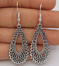 925 Silver Plated Hook - 2.2'' Hollow Waterdrop Large Women Party Earrings #61