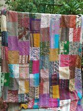 """Handmade Vintage Silk Patchwork Kantha Embroidered Quilt Throw Bedspread 90""""x90"""""""