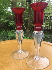 Pair Of teardrop Shaped Antique Vintage Hand Blown Candle Sticks Opallike Base