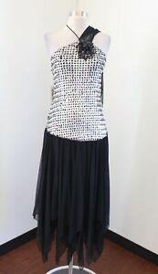 NWT Vtg 80s Black Silver Sequin Sash Party Formal Prom Dress Sz M Retro Costume