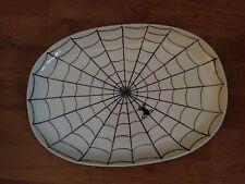 BLACK SPIDER WEB HAUNTED Decor CERAMIC PLATTER TRAY Plate Eddie Bauer