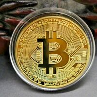 Bitcoin Gold Plated Physical Commemorative Bitcoin In Protective Acrylic Case OM