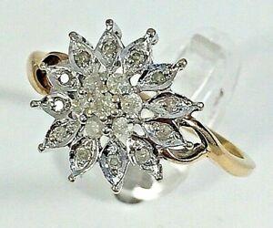 0.25ct Diamond cluster dress ring, 9ct yellow gold