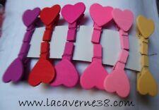 12 Pince à linge épingle décoratives coeurs de couleur variée scrapbooking déco