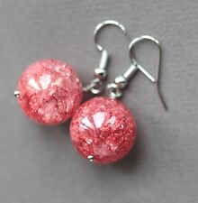 LARGE RED CRACKLED QUARTZ DROP EARRINGS ~ SILVER PLATED