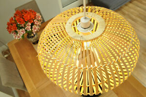 Handmade Bamboo Pendant Ceiling Lampshade, Ellipsoid Shape, Natural Brown L014D2
